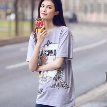 2017 summer new printing mouse series loose short-sleeved cotton shirt T-shirt female