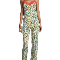 Fleur du Capri Lace Trim Pajama Set, Red/Multi, Size: