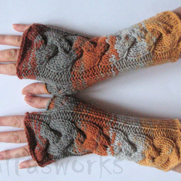 REGULAR PRICE Fingerless Gloves Brown Beige Gray Orange Yellow wrist warmers