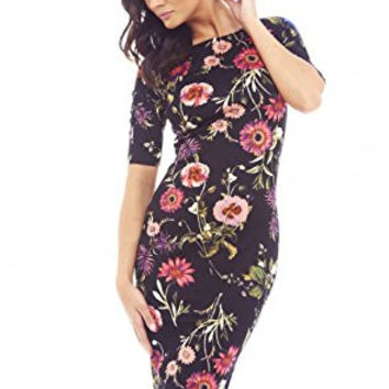 Black 3/4 Sleeve Mixed Floral Print Bodycon Midi Dress