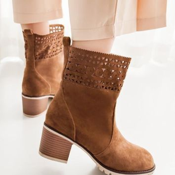 New Brown Round Toe Chunky Cut Out Fashion Ankle Boots