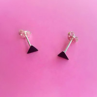 Black Triangle Stud Earrings with Sterling Silver  Posts and Backs, Tiny 3mm Triangle Black Studs, Black Post earrings, Black Jewelry