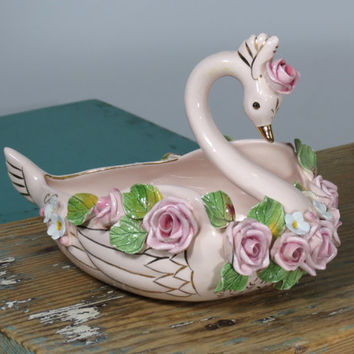 Wildwood Ceramics Pink Swan with Applied Roses . California Pottery Pasadena . Circa 1940s Trinket Dish . Green Leaves Gold Accents