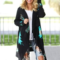 Black and Teal Aztec Cardigan with Fringe