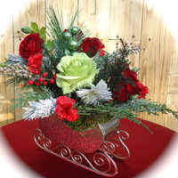 """Christmas Centerpiece in Holiday Metal Sleigh """"Jingle All the Way""""  Table Centerpiece,Christmas Arrangement, Christmas Dinning Table, Winter"""