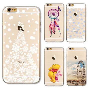 Soft TPU Cover For Apple iPhone5 5S SE 6 6S 6Plus 6SPlus 7 7 Plus Case Phone Shell Beautiful Painted Snow Christmas Tree Pattern
