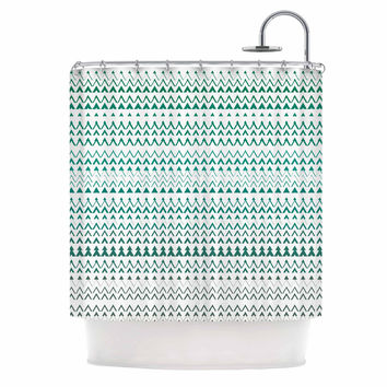"Love Midge ""Revel"" Teal Chevron Shower Curtain"