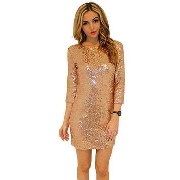O-Neck Long Sleeve Sequin Bodycon Dress