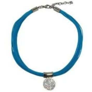 """Turquoise Cord Necklace 16"""" Plus Extender with Clear Crystal Pendant"""