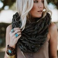 East Coast Knitted Infinity Scarf - Charcoal