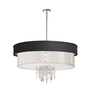 Dainolite 4 Light Polished Chrome Crystal Pendant with Black & Silver and Pearl Shade with 840 Diffuser