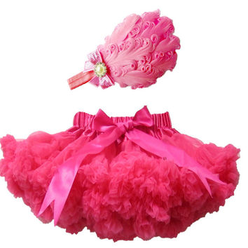 2015 Hot Sale High Quality Baby Girl Outfit Baby Girls Skirt With Feather Headband Baby Tutu Skirts Children Pettiskirt