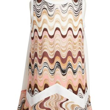 Girl's Missoni Wave & Zigzag Knit Sleeveless Dress,