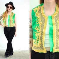 Vintage BEADED Woven Indian Ethnic Green Cropped Vest // Gold Embroidered // Bohemian Boho Hippie Gypsy // XS Extra Small / Small / Medium