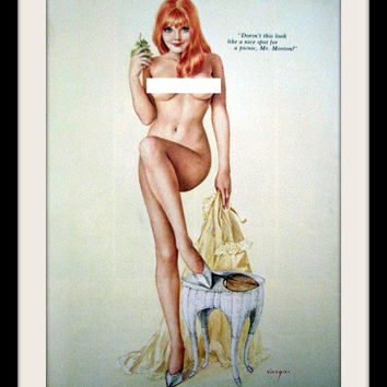"""VARGAS Vintage Redhead Pinup Girl """"Nice Spot For A Picnic"""", Playboy Nude Art Wall Decor, Mature"""