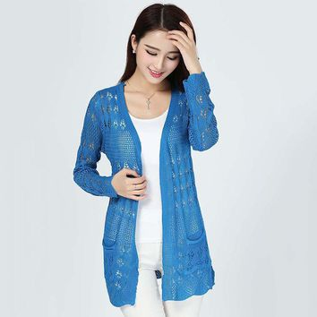 20 Colors Fashion Women Summer Lace Cardigans High Street White Cardigan Casual Knitted Yellow