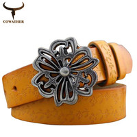COWATHER 2016 plate buckle five colors belts for women special design for girls popular vintage best for dress cloth