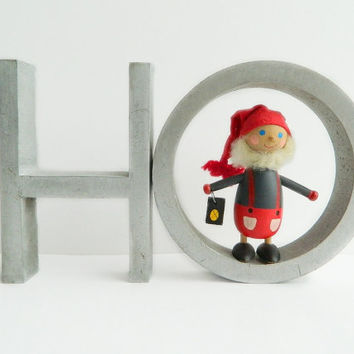 Vintage Metal Letter Sign HO OH H and O Holiday Decor