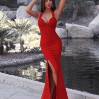 'Svetlana' Halter Maxi Dress - Red