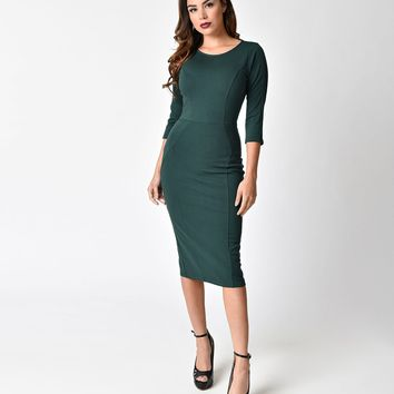 Unique Vintage 1960s Style Dark Teal Long Sleeve Mod Wiggle Dress