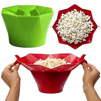 Silicone Microwave Popcorn Maker Popcorn Popper Homemade Delicious Popcorn Bowl Baking Tools