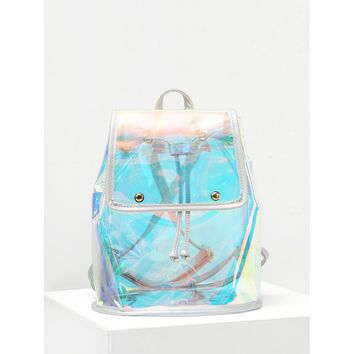 Iridescent Flap Backpack