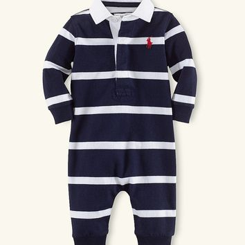 Ralph Lauren Childrenswear Baby Boys 3-9 Months Rugby-Stripe Coveralls | Dillards