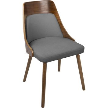 Anabelle Mid-Century Modern Dining Chair, Walnut & Grey Fabric