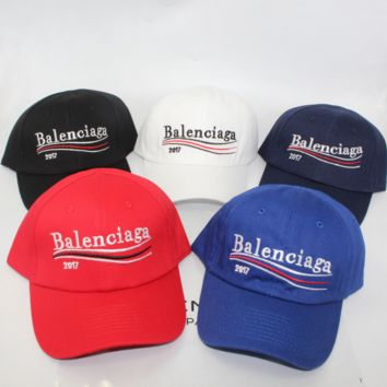 """Balenciaga"" Unisex Casual Fashion Embroidery Letter Wave Stripe Flat Cap Baseball Cap Couple Sun Hat"