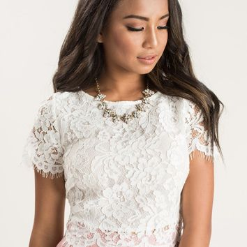 Ellie Ivory-White Short Sleeve Lace Top