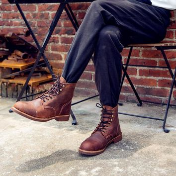 New Red Fashion Bullock Shoes Handmade Wing Men Shoes Genuine Leather Business Boots ,Casual British Style Footwear
