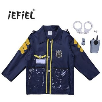 Novelty Kids Boys Police Officer Fire Chief Surgeon Role Play Costume Outfit Child Cosplay Party Dress Up Set with Accessories
