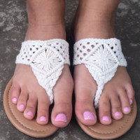 Beige Aline Crochet Sandals