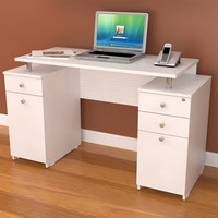 Inval White Modern Straight Computer Writing Desk with Locking File Drawer