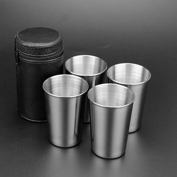 4 PC 180ml Stainless Steel Camping Cup Mug Outdoor Camping Hiking Folding Portable Tea Coffee Beer Cup With Black Bag VEO76 T30