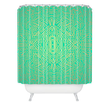 Jacqueline Maldonado Radiate Teal Gold Shower Curtain