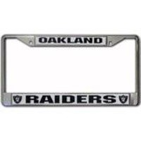 Oakland Raiders Chrome License Plate Frame - Silver
