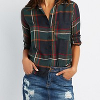 Plaid Lace-Up Back Button-Up Down Shirt