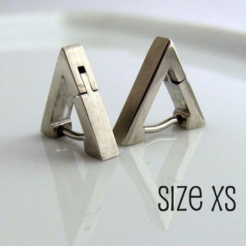Mens Earrings or Cartilage Earrings Silver Triangle Huggie Hoops - Helix Tragus Daith Rook Piercing - For Guys - Stainless Steel XS no.212