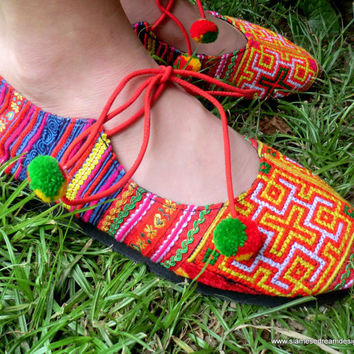Ballet Flats Shoes In Bright Colorful Vintage Hmong Embroidery & Batik