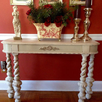 Antique Salvaged Console Table Hand Painted Annie Sloan Old Ochre/Country Grey