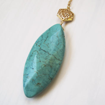 Turquoise Necklace (The Alia) - Howlite Turqouise - Gemstone Jewelry - Long Necklace