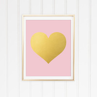 Faux Gold Foil Heart Print. Pink and Gold. Nursery Wall Art. Love Poster. Modern Home Decor. Office Art. Baby Girl. Minimal Poster.