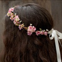 Pink Cherry Blossom Bridal Headpiece - Spring Wedding, Flower Girl Hair Wreath, Bridal Flower Crown, Weddings, Crown, Flower Circlet, Halo