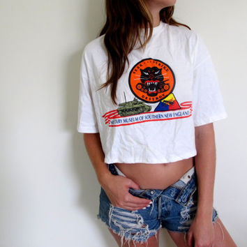 Military Crop Top Cropped Tee Shirt Womens Size Medium New England Seek Strike Destroy Army