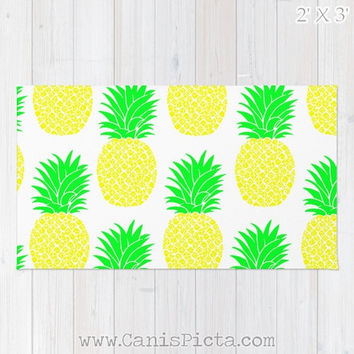 Pineapple Ananas RUG Yellow Green Hot Pink Neon Orange Fruit Bright Home Decor Accent Decorative Kids Gift For Spring Summer Fresh Modern