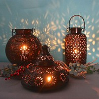 Domed Marrakech Hinged Lid Lantern Antique Copper