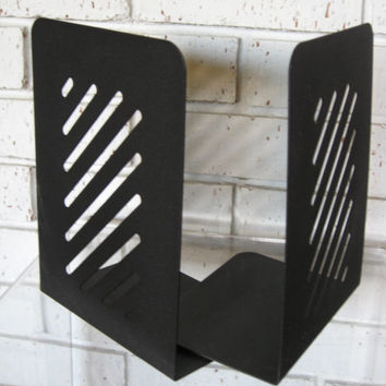 Vintage Mid Century Large Black Metal Bookends Architectural Geometric Style Industrial Decor