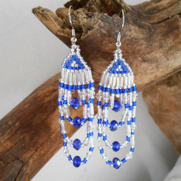 Hand Beaded Brickstitch Chandelier Earrings, Cobalt Blue, Silver and Clear Czech Glass Seed Beads, Swarovski Crystals, Handmade