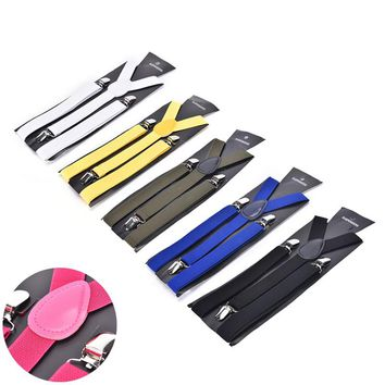 1pc Adjustable Shirts Braces Candy Color Adult Men's Suits Suspenders 3 Clip Buckle Suspenders Belt Strap